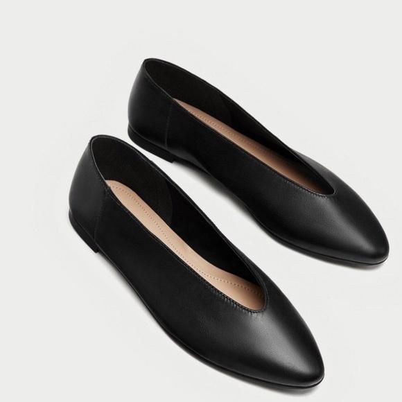 Zara Women s Black Leather V Cut Ballerinas Flats b9a4298a21